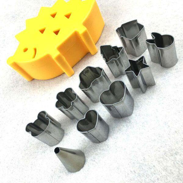 10 pcs set Vegetable/Fruit Mini Shape Cutters In Hedgehog Shape Box