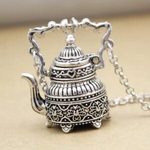 Vintage Silver Plated Victorian 3D Tea Pot Necklace