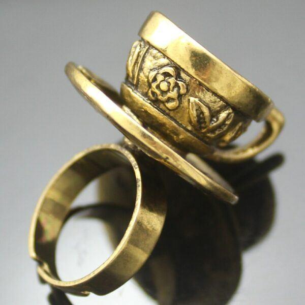 Vintage Wonderland Tea Cup Ring Gold