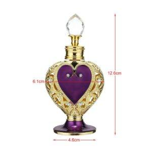 Gifts That Are Purple: Vintage Crystal Purple Heart Metal Perfume Bottle