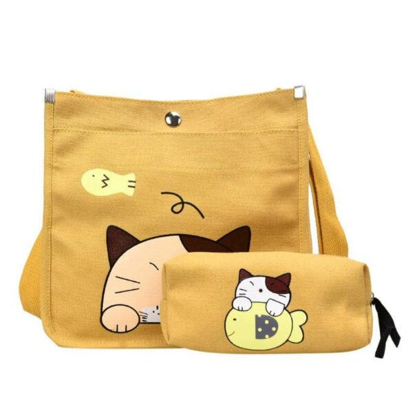 2pcs/set Cute Cartoon Cat Canvas Women Shoulder Bag