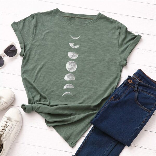 Statement T-Shirts: Phases of the Moon Dark Green