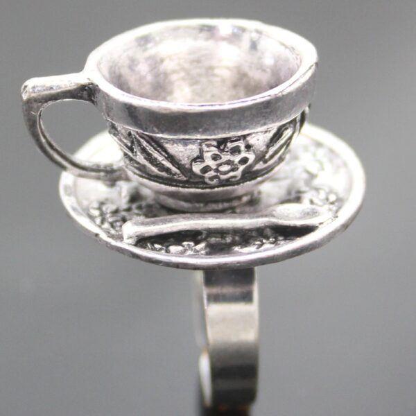 Vintage Wonderland Tea Cup Ring Silver