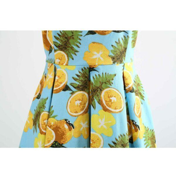 1950s Light Blue Lemon Print Plus Size Dress S-5XL