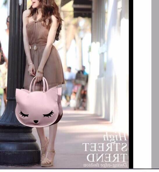 Cat head High Quality PU Leather Handbag