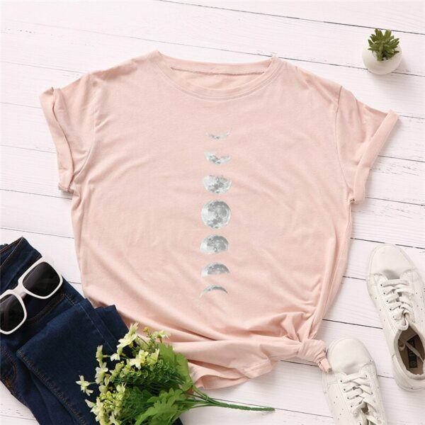 Statement T-Shirts: Phases of the Moon Light Pink