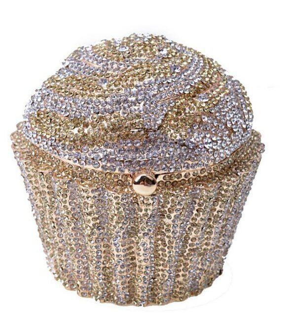 Women Fashion Cupcake Crystal Clutch Evening Bag