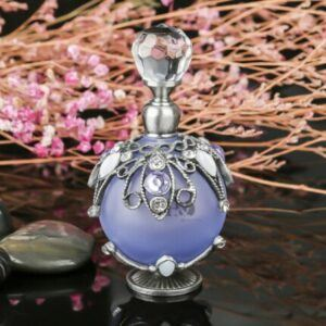 Gifts That Are Blue: Blue Glass Antiqued Style Empty Perfume Bottle