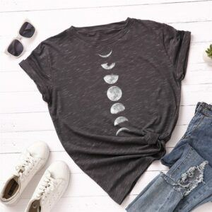 Statement T-Shirts: Phases of the Moon Grey-White