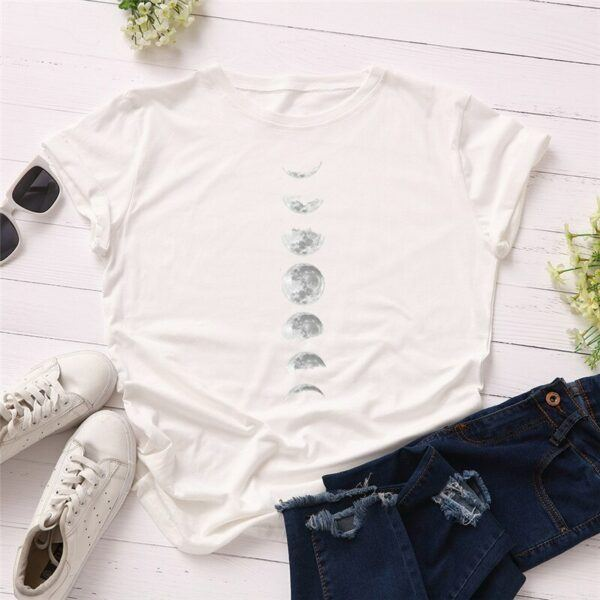 Statement T-Shirts: Phases of the Moon White