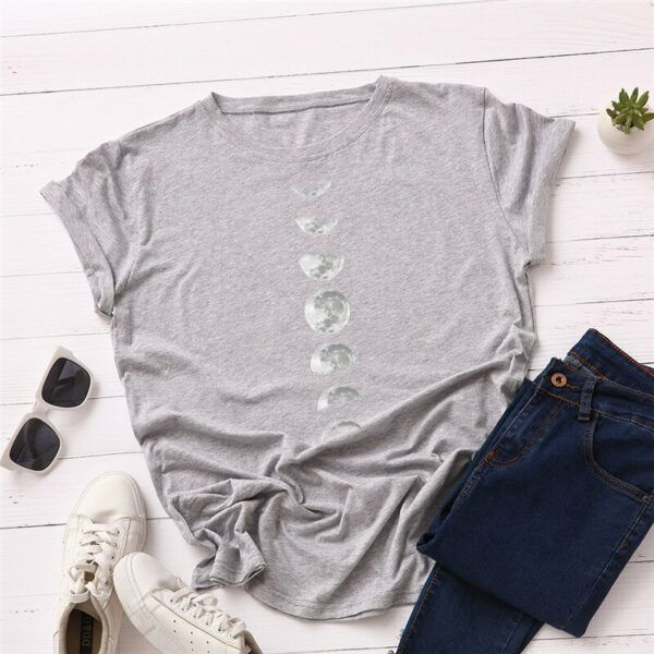Statement T-Shirts: Phases of the Moon Light Grey