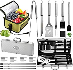 Gift Sets For Men 20pc Complete Grill Accessories Kit with Cooler Bag