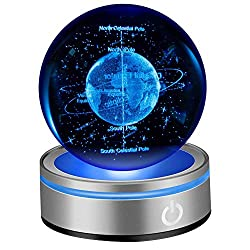 3D Earth Crystal Ball:  Laser Engraved