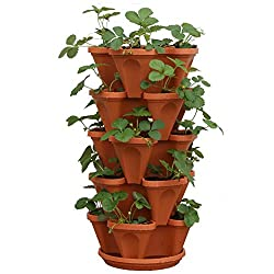 Cool Gift For Gardeners: 5-Tier Strawberry and Herb Garden Planter - Stackable Gardening Pots with 10 Inch Saucer