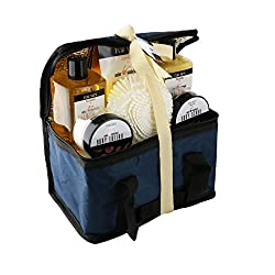 Gift Sets For Men: All Natural Bath and Body Luxury Spa Gift Set Basket (Mens Sandalwood)