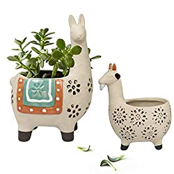 Cute Alpaca/Llama & Goat Rough Pottery Unglazed Succulent Planter Pots - 6.1 + 4.5 inch