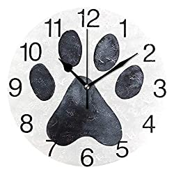 Dog Paw Print Design Round Wall Clock