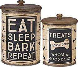 Dog Treat Tin Canisters, 2-piece, Sleep, Bark, Repeat