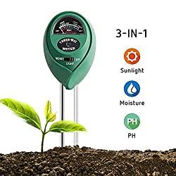 Soil Tester: 3-in-1 Plant Moisture Meter, Light, and PH Tester