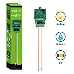 Soil pH Meter: 3-in-1 Soil Moisture/Light/pH Tester