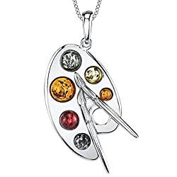 Sterling Silver, Baltic Amber, Multi Color, Artist Painter's Palette Pendant Necklace