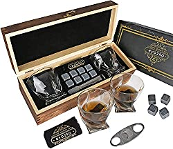 Whiskey Glass Set Gift Box Cigar Cutter and Whiskey Stones Included