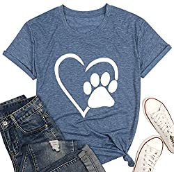 Womens Dog Paw Print Heart Graphic T-Shirt