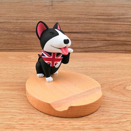 Portable, Wood, Dog Desktop Mobile Phone Holder, Dog Smartphone Stand