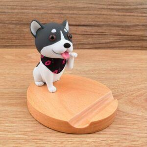Portable,  Wood, Dog Desktop Mobile Phone Holder, Dog Smartphone Stand