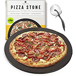 Black Ceramic Pizza Stone ​Pan ​and Pizza Cutter Wheel ​Set​