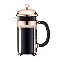 Bodum Chambord French Press Coffee Maker, Glass, 34 Ounce, 1 Liter, Copper
