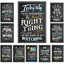 "Chalkboard Style Motivational Posters Set of 10 (13"" x 19"")"