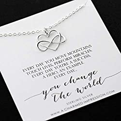 Everyday you change the world 925 Sterling Silver Infinity Heart Necklace