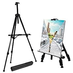 "Extra Thick Aluminum Metal Tripod Display Easel 21"" to 66"""