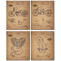 Harley Davidson Patent Prints (8x10 - Set of 4 Prints)