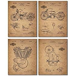 Harley Davidson Patent Prints (8x10 - Set of 4 Prints)