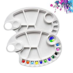 Non-Stick Paint Palette 2 PCS Artist Paint Mixing Tray Palette 17 Wells