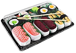 Novelty Socks: Sushi Socks Box Salmon Tamago Tuna Maki - 5 Pairs