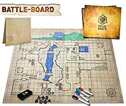 The Original Battle Grid Game Board Dry Erase Square & Hex RPG Miniatures Mat - 23x27