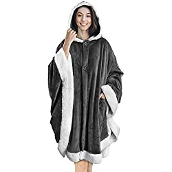 Angel Wrap Hooded Blanket with Soft Sherpa Fleece