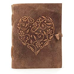 Beautiful Handmade Genuine Leather Bound Notebook with Embossed Heart Cover