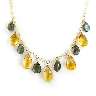 Citrine + Labradorite Teardrop Necklace