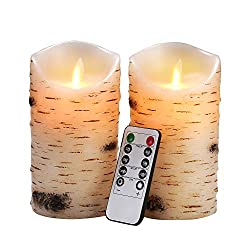 "Flameless Candles LED Candles Birch Bark Effect Set of 2 (D:3.25"" X H:6"") Ivory"