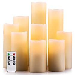 Flameless Candles Set of 9 Ivory