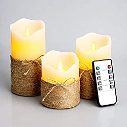 "Flickering Flameless Candles, 4"" 5"" 6"", Set of 3 (Ivory White)"