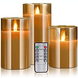 "LED Flameless Candles Flickering with Remote Control and Timer, 4"" 5"" 6"" Set of 3,"