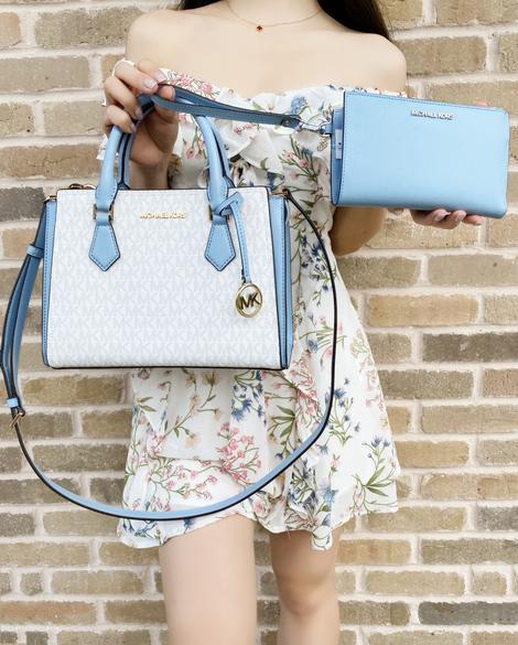 Michael Kors Hope Medium Messenger Bright White + Sky Blue Double Zip Wristlet