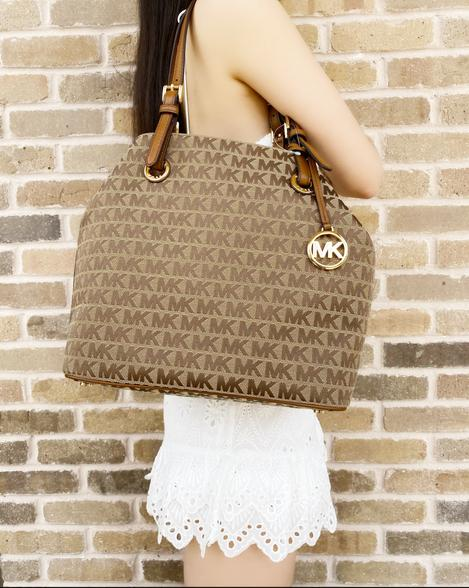 Michael Kors Jet Set Grab Bag Carryall Tote Jacquard Beige Signature MK Handbag