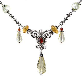 Upscale Bohemian Necklace: Citrine and Amber