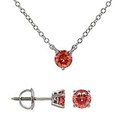 Stud Diamond Earrings and Solitaire Pink Diamond Necklace Set